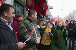 Willesden Green Wassail Khan's Halal Butchers 'wassailed' by the crowd