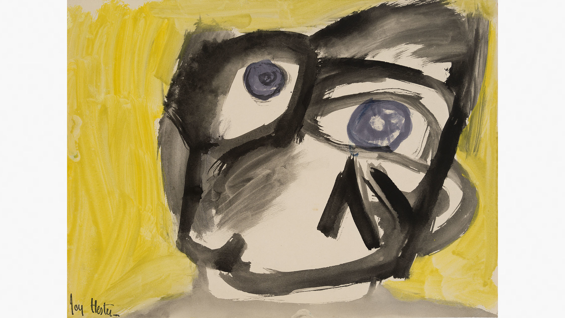 Face (with Yellow Background)c.1947brush and ink and gouache o