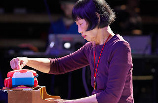 Margaret Leng Tan rehearsing on a toy piano for Dragon Ladies Don't Weep