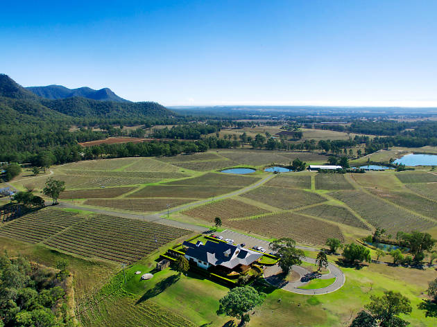 Drone shot of Audrey Wilkinson Winery