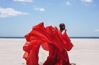 Photograph of a woman artistically fanning a red dress on a flat beach under a almost cloudless sky