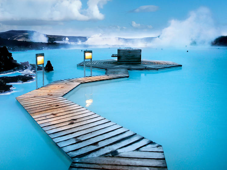 Take a dip in a volcanic lagoon in Iceland