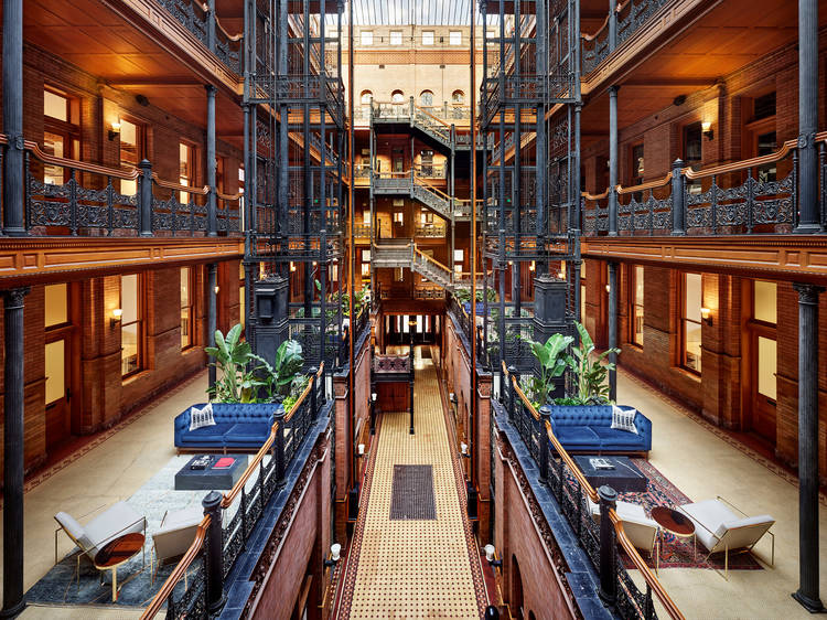 A free exhibition of never-before-seen 'Blade Runner' photos is popping up at the Bradbury Building
