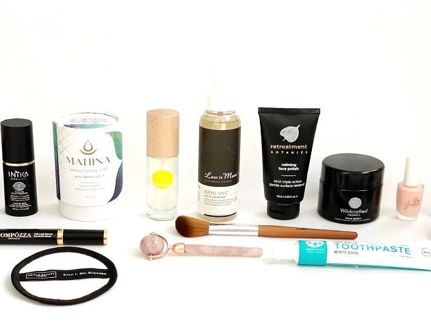 Beauty products in a line