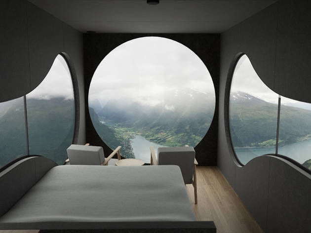 You can sleep in a human-sized birdbox high above a Norwegian fjord