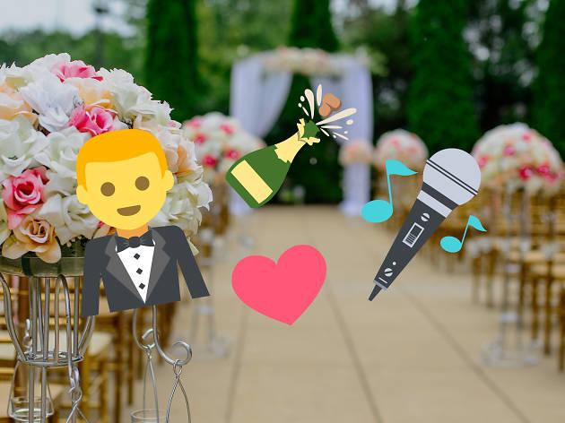 Wedding emojis over a generic wedding photograph