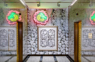 See this art installation transform a Times Square lobby into a garden party