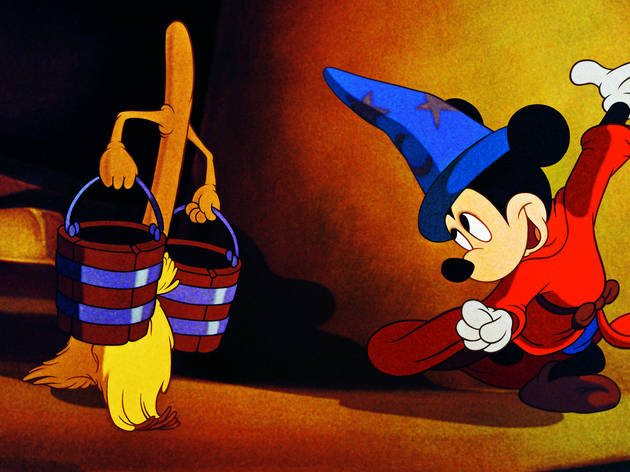 Film still from Fantasia (1940) showing Mickey Mouse dressed as the sorcerer's apprentice