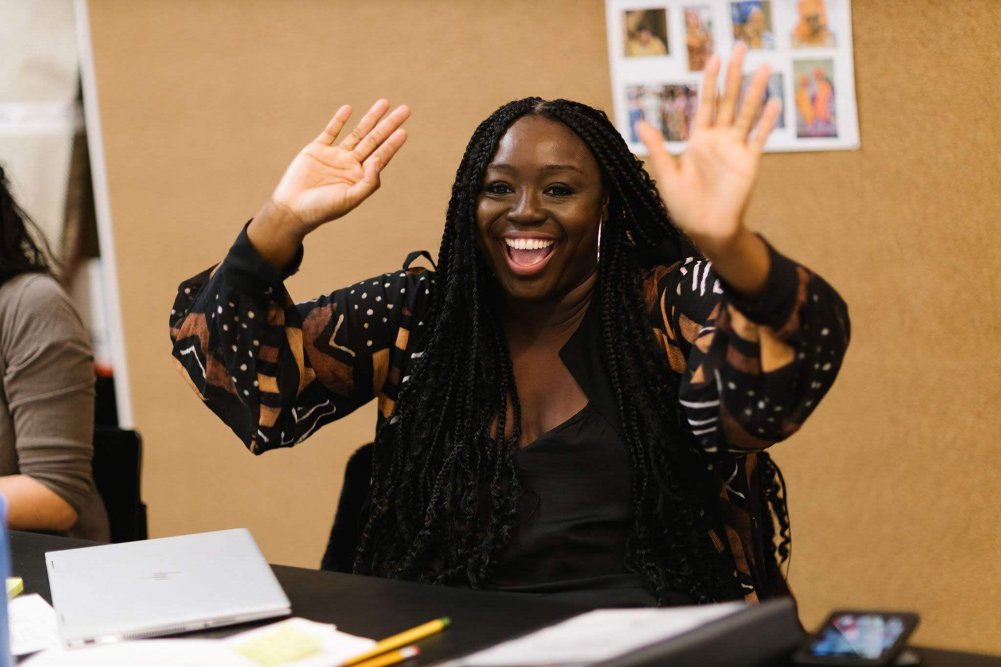 Jocelyn Bioh in rehearsals for Nollywood Dreams