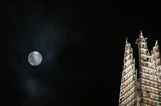 super worm moon over London and The Shard
