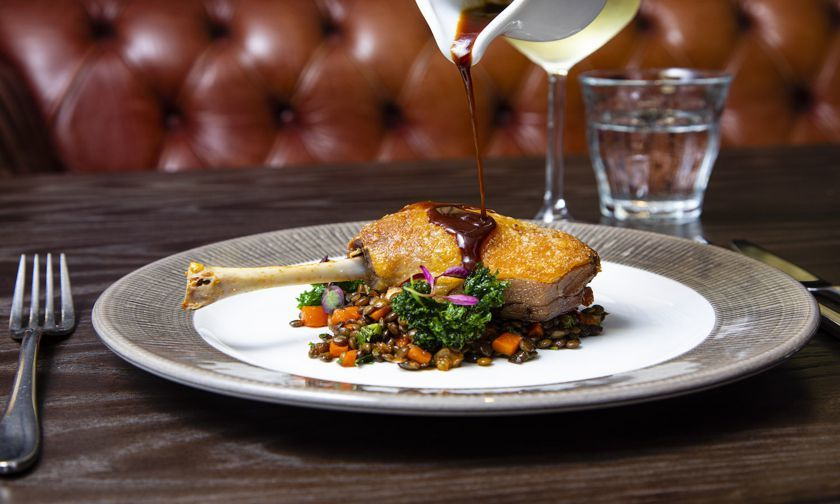 £18 for three courses and a glass of wine at 100 Wardour St