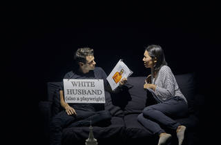 Miles G. Jackson and Jiehae Park in ENDLINGS at New York Theatre Workshop