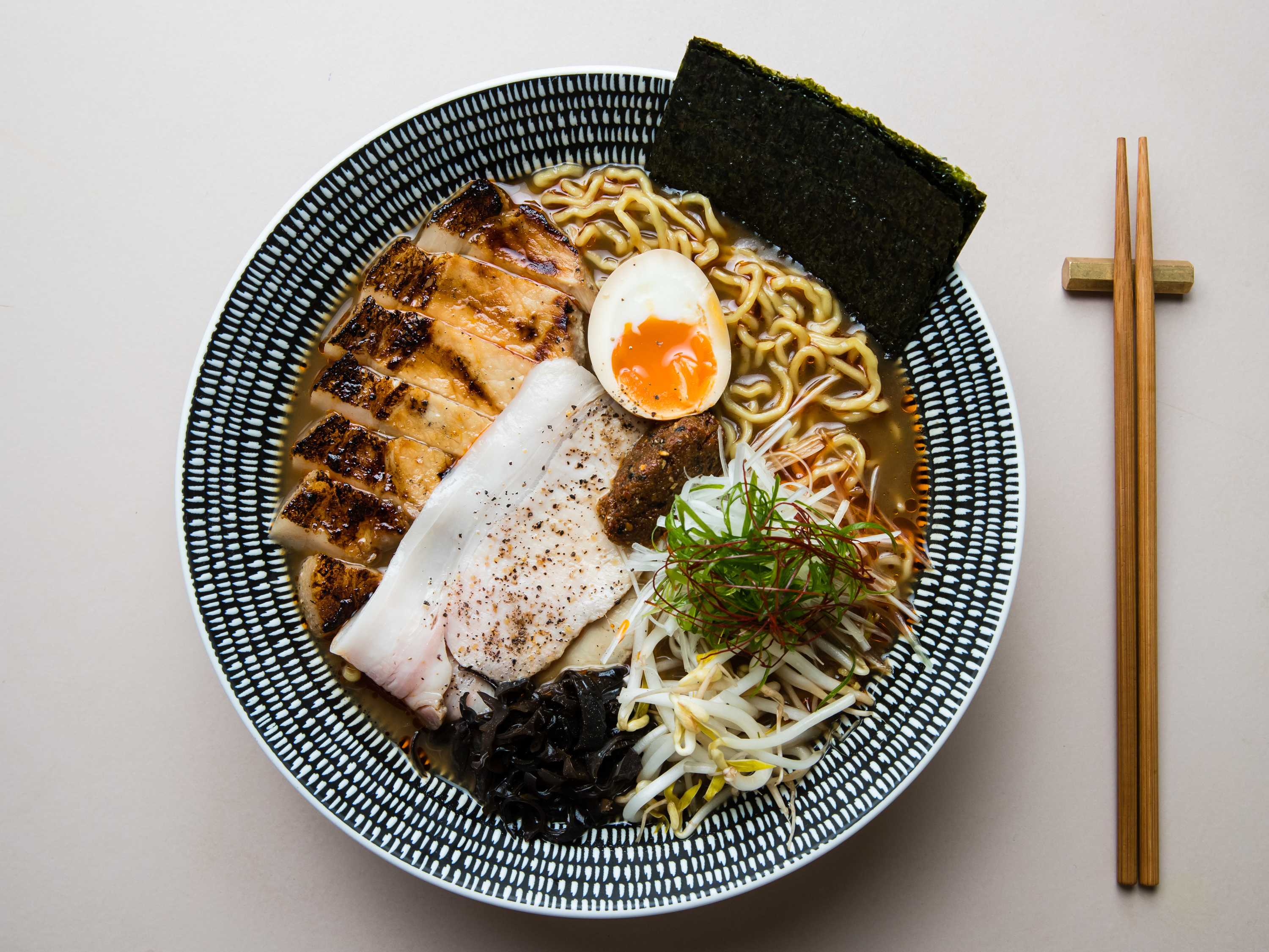 A bowl of ramen shot from above