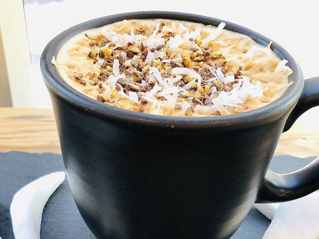 (Chocolately Coconut Crisp Latte)