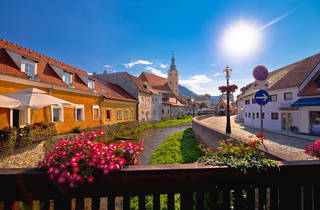 Venetian-like canals in Samobor adorned with flowers