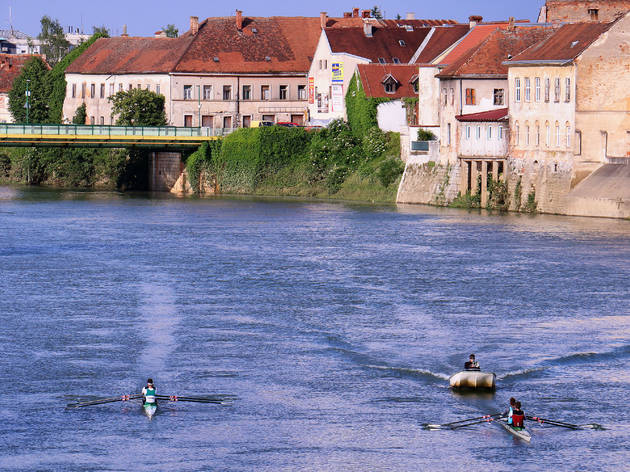 Rowboats in Karlovac, the city with four rivers