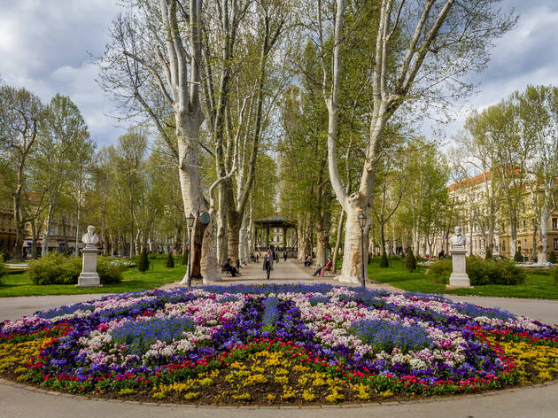 Southern entrance of Zagreb's plane tree-lined Zrinjevac Park
