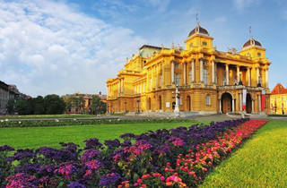 19th-century Croatian National Theatre and its gardens in Zagreb