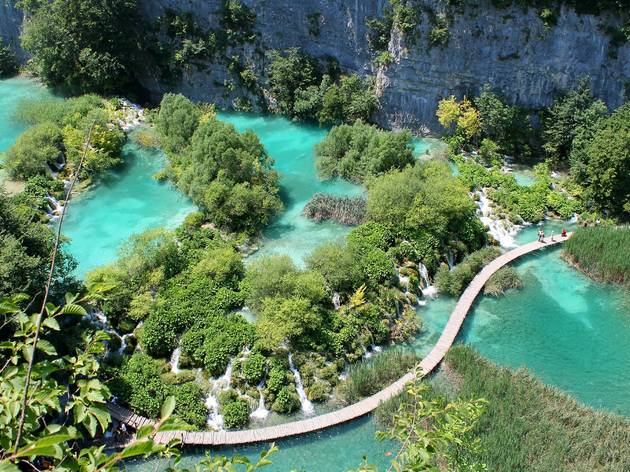 Trail crossing Plitvice Lakes National Park's lower lakes