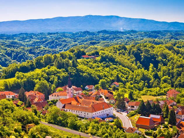 Klanjec town in the Zagorje region sporting views of Mount Medvednica