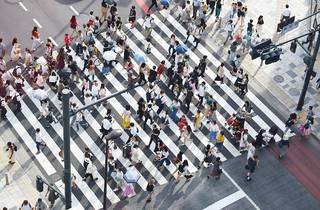 people crossing on the streets