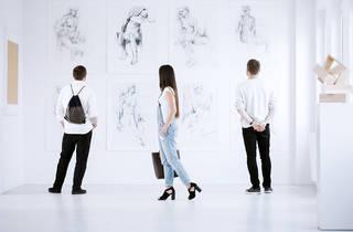 Visitors, art gallery, paintings