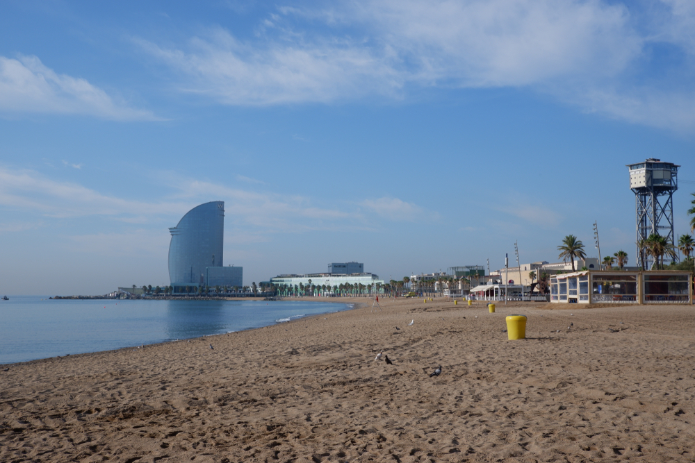 Empty Barceloneta beach