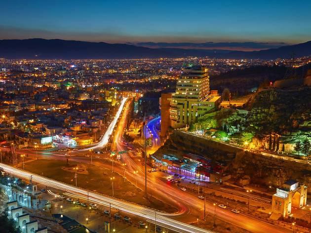 Nighttime skyline of Shiraz, Iran