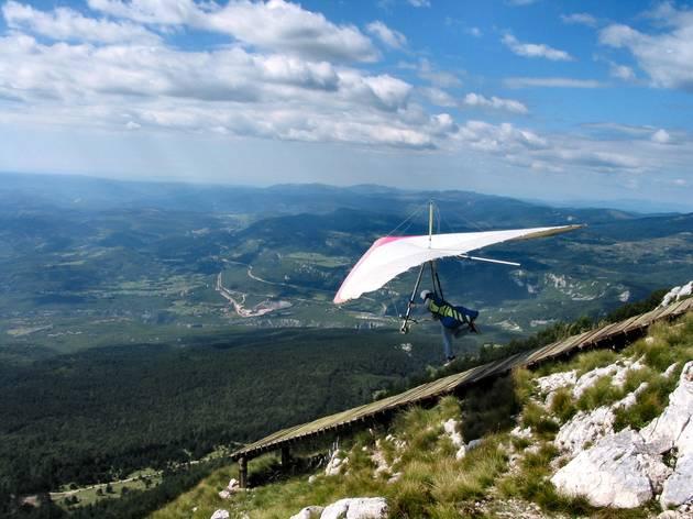 Hang glide across the greenery