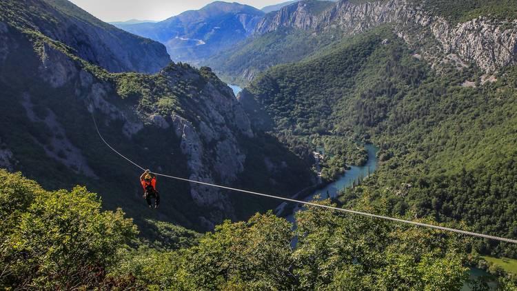 Zipline across a canyon