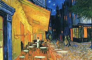 Terrace of a café at night