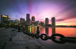 Boston Fan Pier at sunset