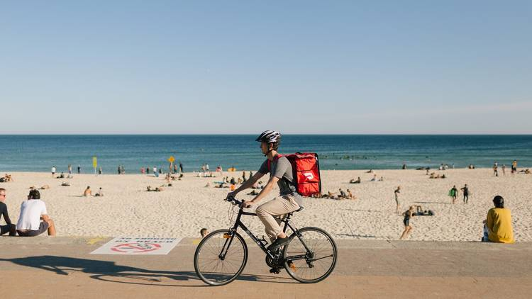 DoorDash food delivery bike on the beach