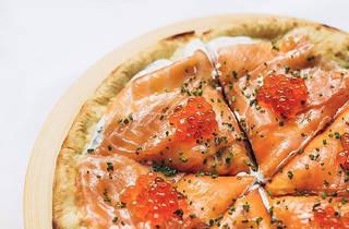 Spago smoked salmon pizza