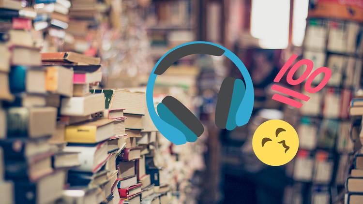 Bookshelves with headphone emojis over it