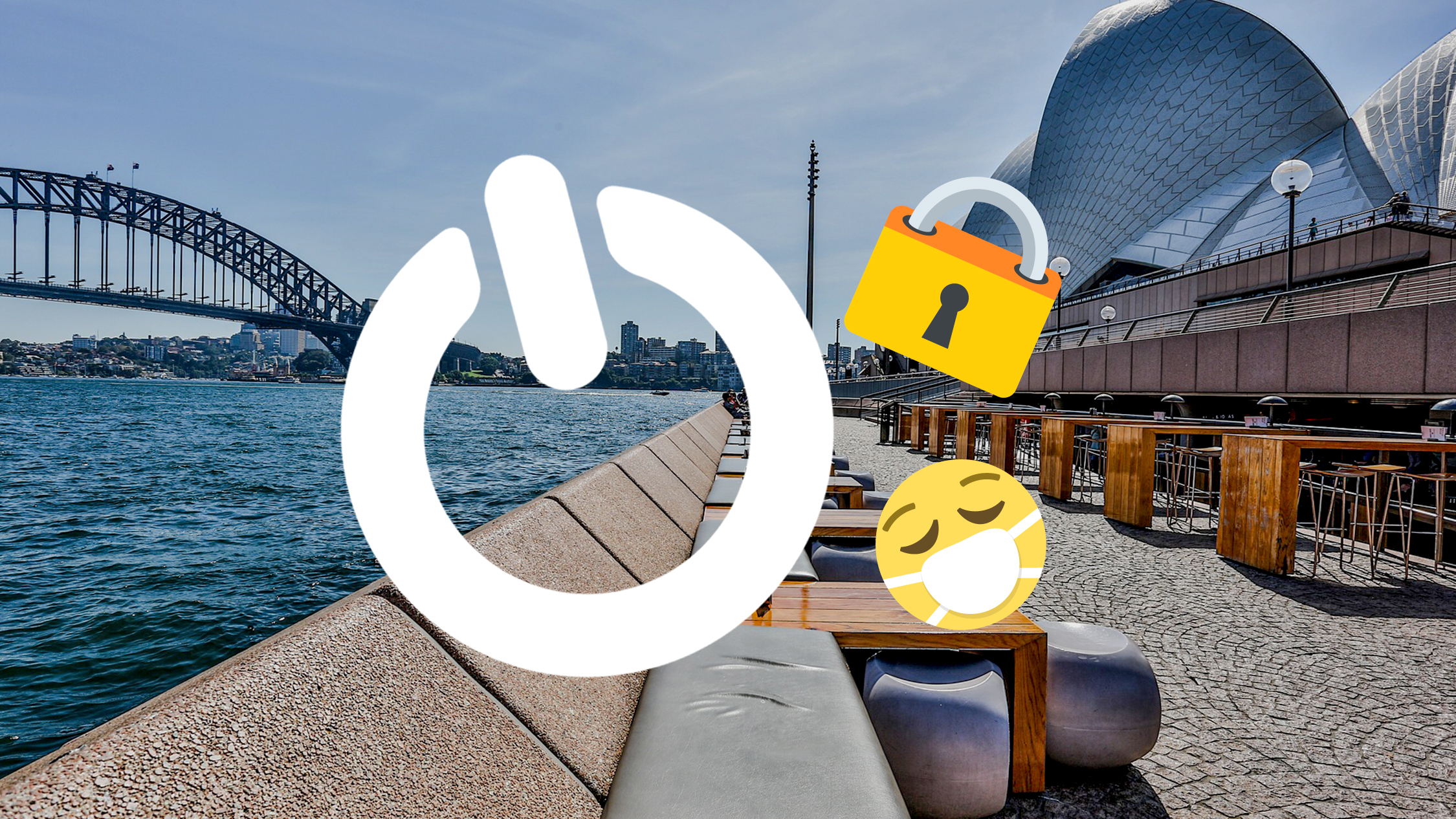 A scene of Sydney Harbour with emojis of a face wearing a medical mask, a lock and a power button.