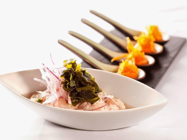 Ceviche nikkei con puré de boniato (Ronda 14)