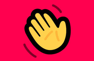 Houseparty app logo: a waving yellow hand