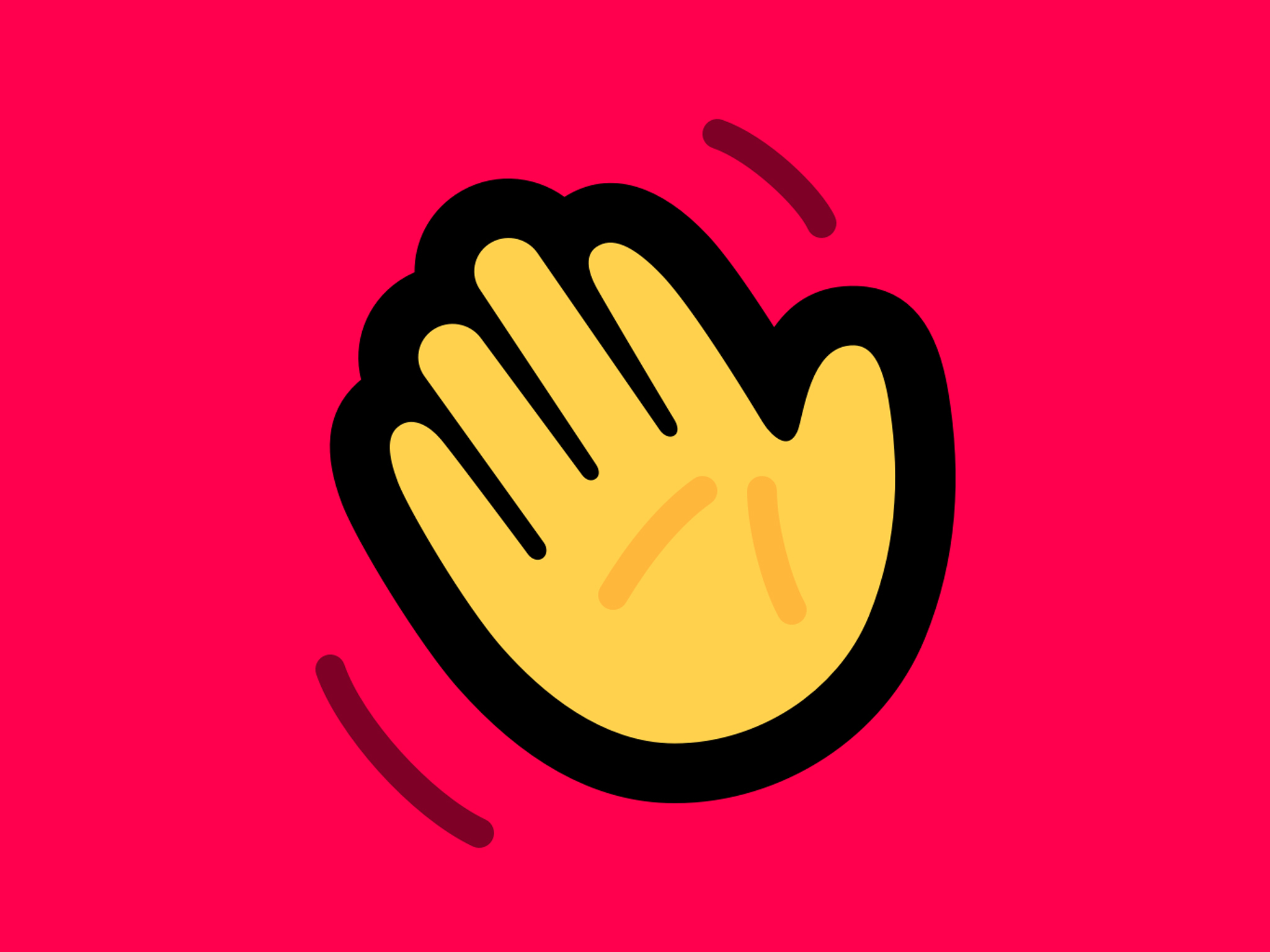 Houseparty app logo: a waving yellow hand