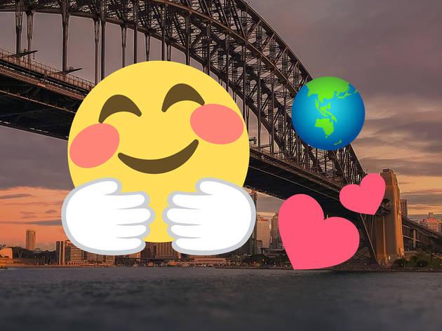 Emojis over the Sydney Harbour Bridge