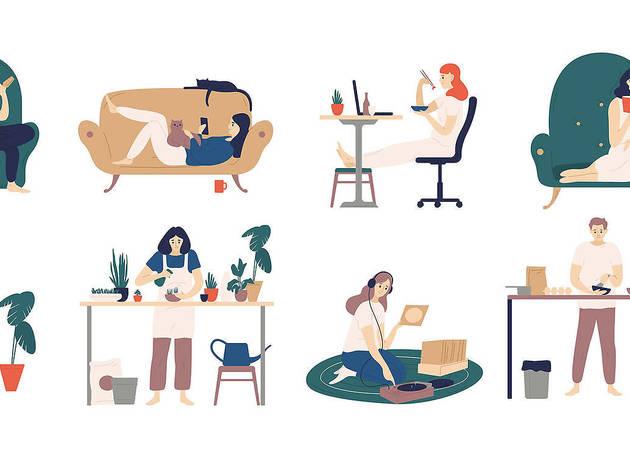 Ilustraciones de gente haciendo cosas en su casa