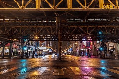 Empty streets in Chicago during coronavirus