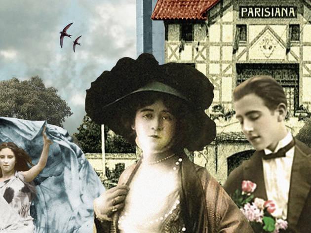 Un collage con pareja y casa al fondo