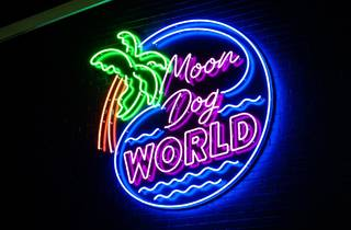 Moon Dog World neon sign