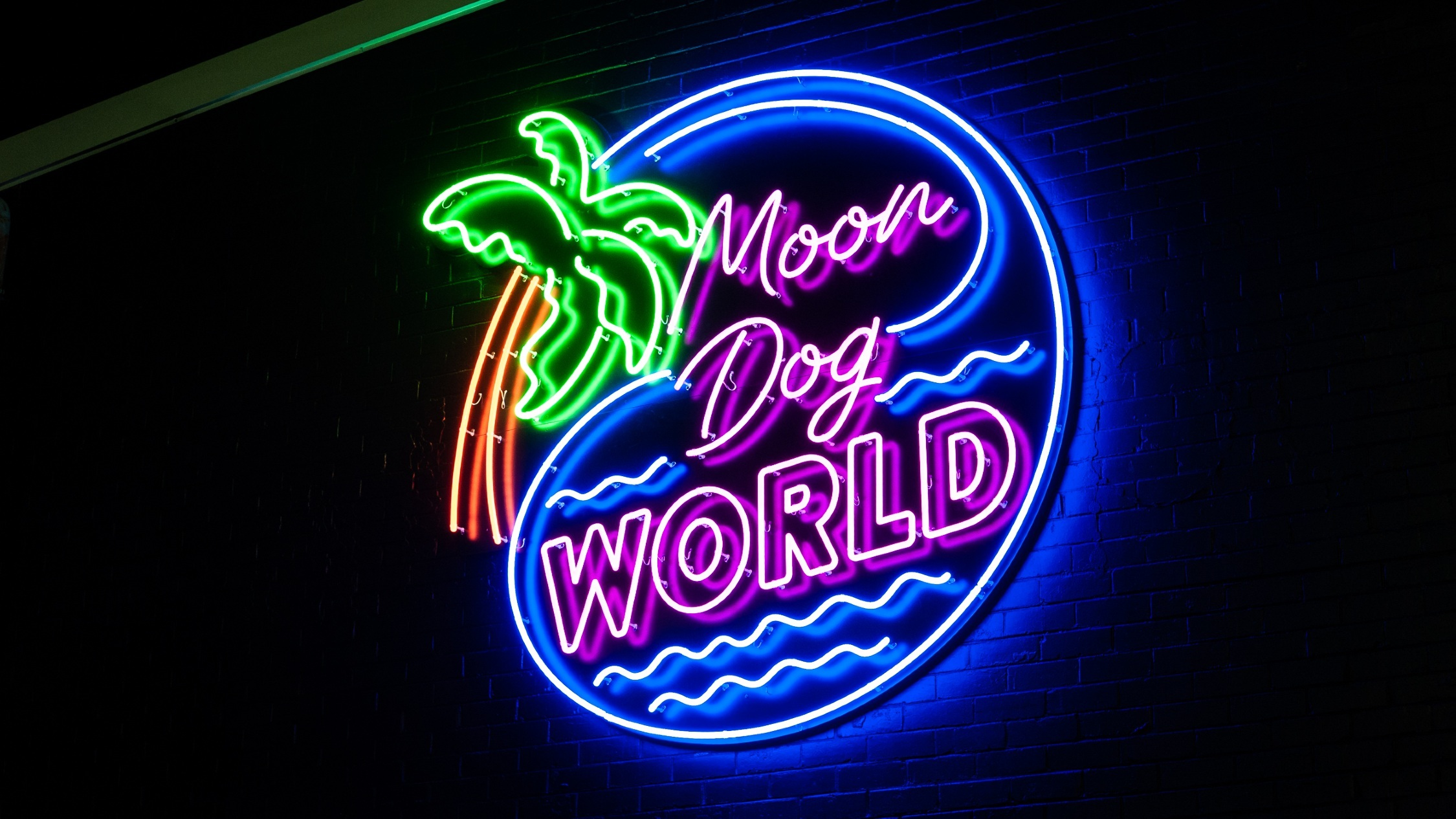 Moon Dog World neon sign