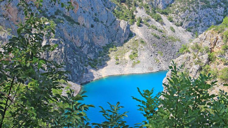 Karst lake in the Dalmatian town of Imotski