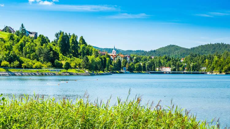 Beautiful Bajer lake in Croatia's Gorski Kotar region