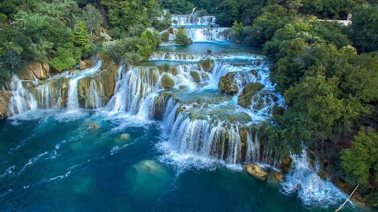 Krka National Park's waterfall-bespeckled river