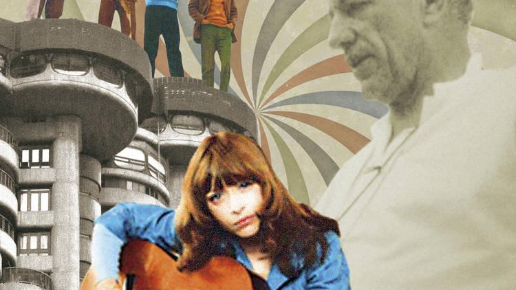 Collage con Mari Trini, Nicholas Ray, Los Pekenikes...