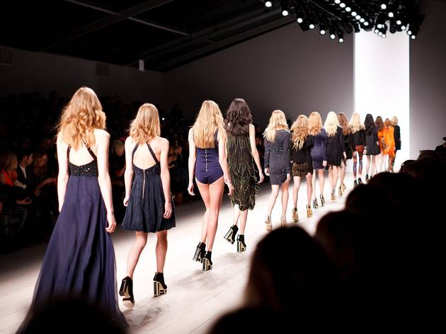 Women strutting down a catwalk